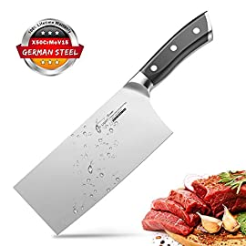 SKY LIGHT Cleaver Knife, 7 Inch Butchers Knife German High Carbon Stainless Steel Kitchen Meat Chopper Razor Shape Chef… 1 【Multi-functional Cleaver】The classic 7-inch Chinese Kitchen Knife can easily handle your daily kitchen needs like slicing boneless meats, chopping, slicing, dicing, or mincing vegetables, and to flatten garlic bulbs or ginger; while also serving as a spatula to carry prepared ingredients to the wok. The general-purpose knife is your perfect and practical kitchen assistant. 【Professional Sharp Blade】17°angle per side, hand polished by seasoned craftsman, the all-purpose wider blade is very thin and ultra sharp. One-piece solid 100% stainless steel, no need to worry about handle being broken or falling off. The superb blade is made of rust resistant high grade steel. 【Outstanding German HC Stainless Steel】The stable and stylish Meat Knife is precisely forged by extraordinary quality stainless steel X50CrMoV15 / 1.4116 at 58+ Rockwell Hardness, which ensures its high wear resistance, durability, corrosion and stain resistance.