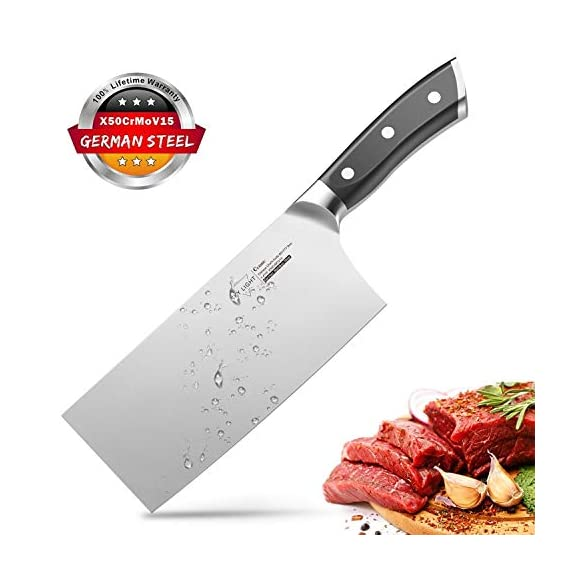 Cleaver Knife, 7 Inch Butchers Knife German High Carbon Stainless Steel Kitchen Meat Chopper Razor Shape Chef's Knives with Ergonomic Handle 1 【Multi-functional Cleaver】 The classic 7 inch cleaver knife can easily handle daily kitchen tasks like chopping, slicing, dicing, mincing, a good chopper for cutting meat and vegetables in your kitchen and restaurant 【Peak Performance Sharp Edge】 17°angle per side, Hand polished by seasoned craftsman, the all-purpose wider blade is very thin and ultra sharp to help you make your best cut, allows to easy resharpen and maintenance 【German HC Stainless Steel 】This butcher's knife is precisely forged by extraordinary quality stainless steel X50CrMoV15 / 1.4116 at 58+ Rockwell Hardness to ensure its wear resistance, durability, corrosion and stain resistance etc