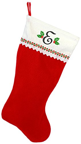 Monogrammed Me Embroidered Initial Christmas Stocking, Red and White Felt, Initial E (Monogrammed Stocking Christmas)
