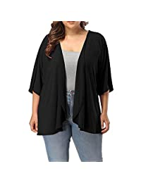 KpopBaby Women's Plus Size Summer Casual Open Front Half Sleeve Lightweight Cardigan