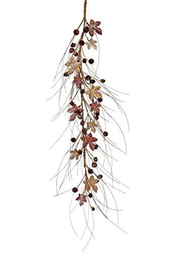 Red Brown Metal Maple Leaf & Fake Birch Branch Garland - 48