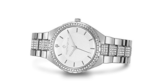 (Timothy Stone Womens Watches Swarovski Crystal Dial and Bezel Silver-Tone & White