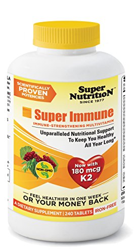 SuperNutrition Super Immune Multivitamin, Iron-Free, 240 (Bio Vegetarian 180 Tabs)