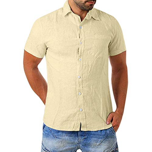 FONMA Men's Baggy Cotton Blend Pocket Solid Short Sleeve Turn-Down Collar T Shirts Khaki ()