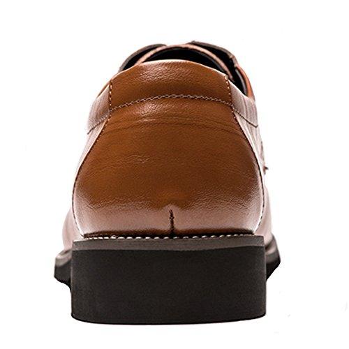 Buganda Heren Business Brogue Oxford Puntschoen Schoenen Lace Up Leer Klassieke Schoenen Geel