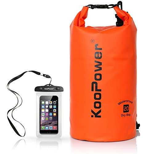 (Koopower Dry Bag Sack, 20L Dry Gear Backpack with Universal Waterproof Phone Case for Boating, Kayaking, Rafting, Fishing, Camping, Canoeing, Swimming, Snowboarding, Driving)