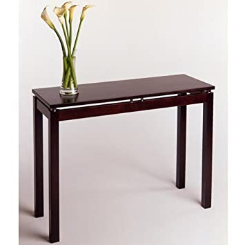 Contemporary Wood Console Table With Levitating Tabletop In Glossy Espresso  Finish,Rectangle 39.5W X
