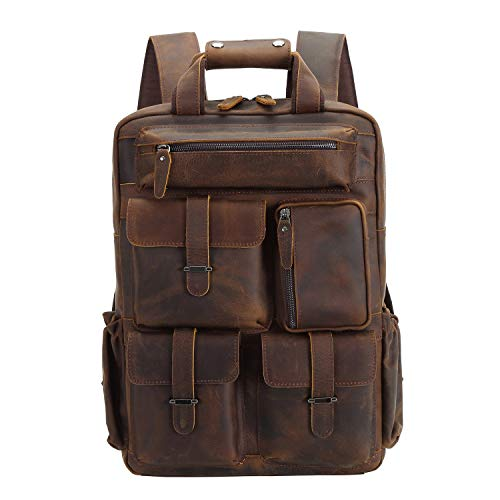 Texbo Full Grain Cowhide Leather Multi Pockets 16 Inch Laptop Backpack Travel Bag (Dark Brown(Updated Version))
