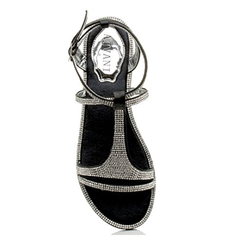 Strappy Women Flat T Sandals Black Size Ajvani Bar Rhinestone Z6qEB