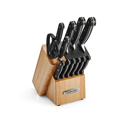 Farberware Self-Sharpening 13-Piece Knife Block Set with EdgeKeeper Technology, Natural