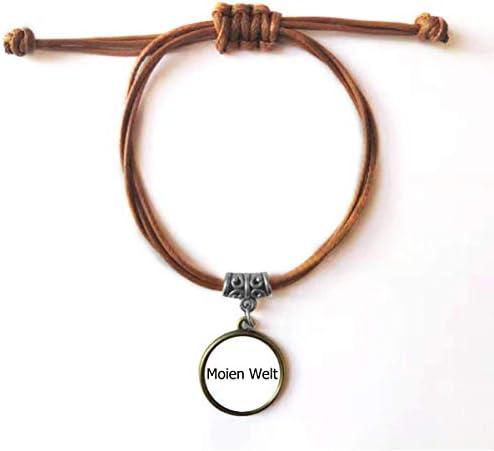 DIYthinker Bonjour Welt Luxemburg armband leer touw dubbele armband paar