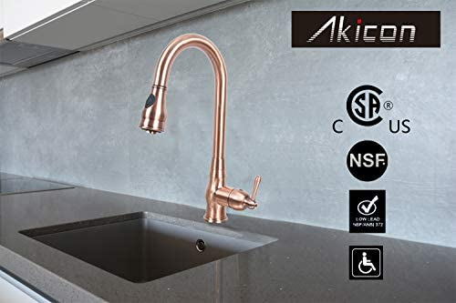 Antique Copper Single-Hole Pull-Down Sprayer Copper Kitchen Sink Faucet Single Handle – Five Years Warranty-Akicon