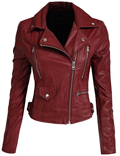 NE PEOPLE Women's Fitted Mixed Media Faux Leather Zip up Moto Jacket Hoodie