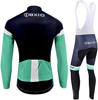 Invierno de Manga Larga y Pantalones con Peto Jerseys t/érmicos y Mallas para Bicicleta 207 BXIO Ropa de Ciclismo para Hombre