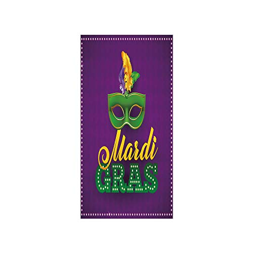 3D Decorative Film Privacy Window Film No Glue,Mardi Gras,Green Mask with Colorful Feathers on Purple Backdrop Styled Calligraphy Decorative,Purple Green Yellow,for Home&Office -