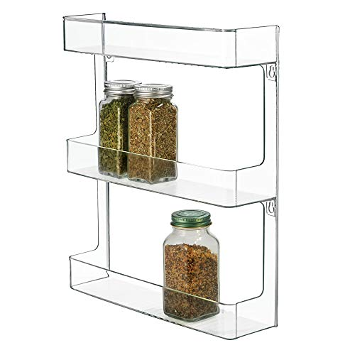 InterDesign Linus Plastic Wall Mount Organizer Rack for Spices, Tea, Sauces, and Baking Supplies in Your Kitchen or Pantry, Clear ()