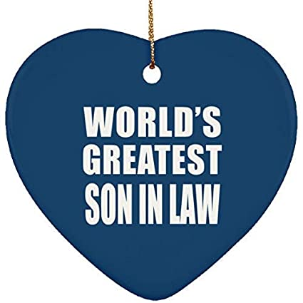 MurielJerome Worlds Greatest Son In Law Ceramic Heart Ornament Royal Gift Xmas Christmas Tree Decor