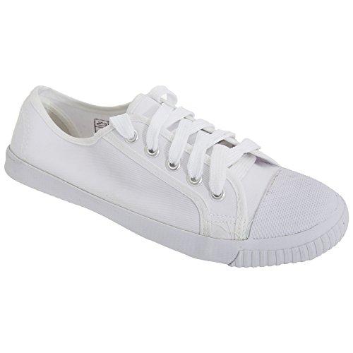 Dek Kids - Zapatillas Unisex de tela blanca de cordones para niños/jóvenes Blanco
