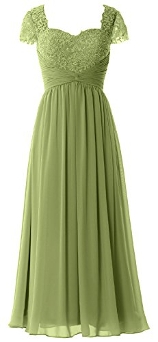 MACloth Women Cap Sleeves Mother of Bride Dress Lace Chiffon Evening Formal Gown Verde Oliva