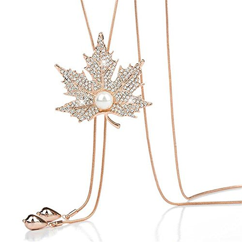 (Elegant Pearl Rhinestone Maple Leaf Long Sweater Pendant Necklace for Women Girls Jewellry Gifts (Gold))
