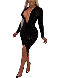 Womens Sexy Sequin V Neck Long Sleeve Bodycon Party Split Mini Dress 836ac2105