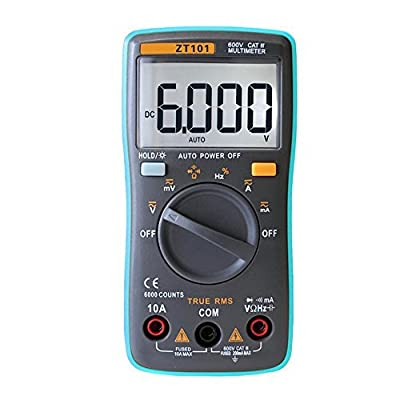 Lankey Mini Auto Ranging Digital Multimeter Electronic Measurement for AC/DC Voltage, AC/DC Current, Resistance, Capacitance, Diode and Continuity Testing, Frequency with Backlight LCD Display