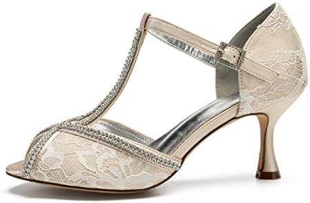 Lianyunneiyi Woman Lace Dress Shoes Crystal Diamond Open Toe T