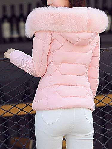 Comodo Pelliccia In Pink Autunno Cappotti Casual Donna Giacca Incappucciato Piumini Collo Trapuntata Moda Classiche Eleganti Giacche Outerwear Calda Donne Invernali Imbottitura Sintetica axZvq1Z