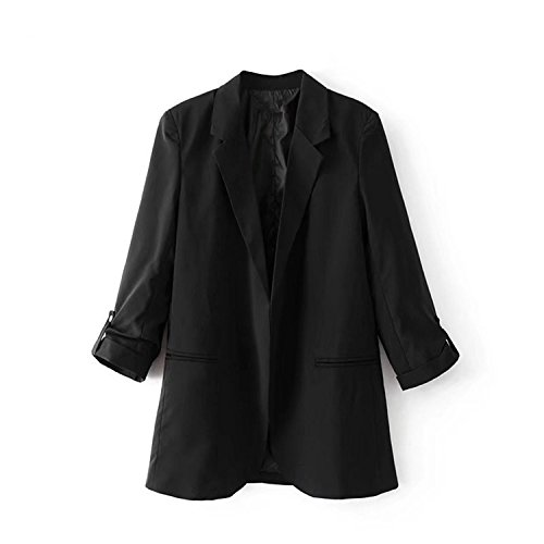 Toping Fine Spring New European Casual Women Blazer Three Quarter Sleeve Lady's Small Suit Coat, XDC7712 BlackMedium by Toping Fine wool-outerwear-coats (Image #2)