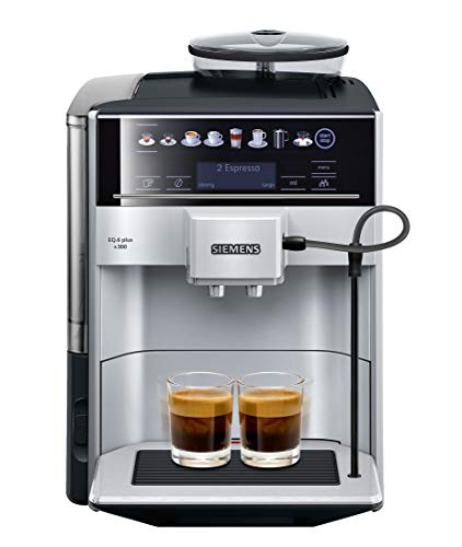 - Siemens super-automatic espresso coffee machine with grinder, double boiler, milk frother, maker for brewing espresso, cappuccino, latte, macchiato and flat white EQ.6 plus s300 TE653311RW