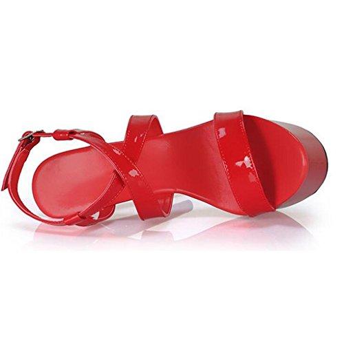 LLP Hauts Noire Red Banquet Boucle Chaussures Femme Imperméable épais Fond Mot Talons Sandales Bout Fond Ouvert à Sandales HwTrcIqBpH