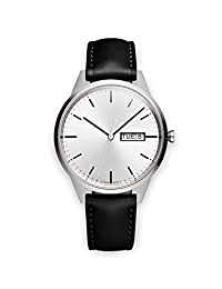 Uniform Wares C40 Swiss Quartz Stainless Steel and Black Leather Watch