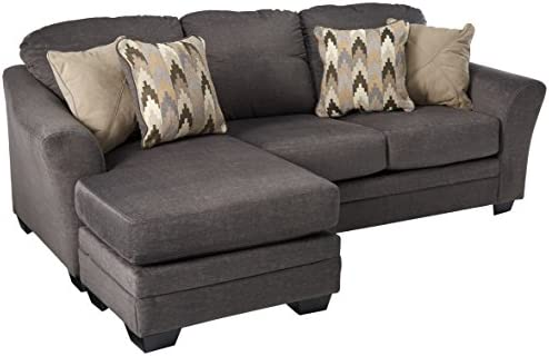 Benchcraft - Braxlin Contemporary Sofa Chaise - Four Throw Pillows Included  - Charcoal