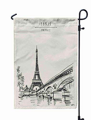 Shorping Decorative Outdoor Garden Flag, 12x18Inch Eiffel Tower in Paris France Symbol of French Icon Bridge and Water for Holiday and Seasonal Double-Sided Printing Yards Flags]()