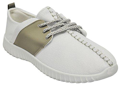 Bamboo Tilt-01s Dames-brei-sneakers Wit Grijs