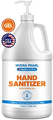 Hydra Pearl Hand Sanitizer Gel - 70% Alcohol - 1 Gallon (128 oz) + Free Pump Dispenser - Bulk Refill Size - Ma