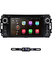 hizpo Android 10 OS 6.2 Inch 1 Din Car Navigation DVD Player Radio Stereo Fit for Jeep Wrangler Chevrolet Dodge Chrysler with Mirrorlink Bluetooth WiFi 4G RDS OBD2 DVR DAB+ TPMS