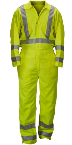 (Lakeland Flame-Resistant Reflective Modacrylic Coverall with Zippered Boot Openings, Open Cuff, Medium, Lime/Yellow (Case of 10))