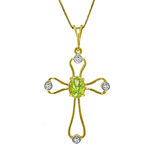 Galaxy Gold 0.57 Carat 14k White Rose Yellow Solid Gold Faith Peridot Diamond Necklace 4086 (yellow-gold, 24) ()
