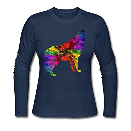KAWAYI Wolf Animal colorful Rainbow Cartoon Women's Casual Long Sleeve Round Neck Loose T Shirt Tops Reynolds Casuals Set