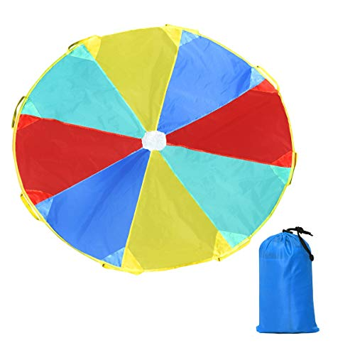20FT Outdoor Kids Folded Play Parachute with 8 Resistant-Handles from Unknown