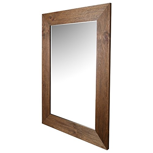 ArtMaison.ca Beveled Hanging Wall Mirror with Hand Stained Pine Frame, 34-Inch by 46-Inch