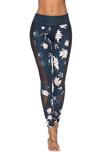 Pants Athletic Workout - Mint Lilac Women's Printed Full-Length Leggings Athletic Workout Pants with Mesh Panels Medium Black