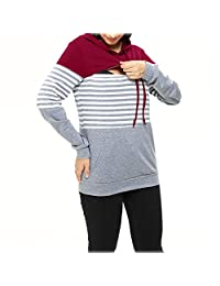 Aritone Womens Maternity Layered Nursing Tops Striped Hooded Blouse Outwear Pregnant Pullover Breastfeeding Sweatshirts