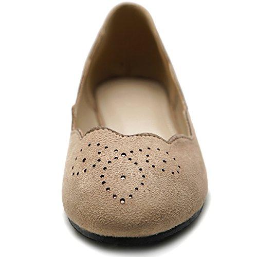 Ollio Femmes Chaussures Ballet Vague Motif Faux Suède Confort Sable Plat