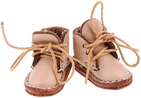 2色選べる ファッション レース付き 1/6スケール 人形靴 シューズ アンクルブーツ - ベージュ