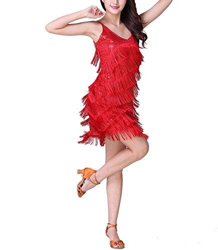 Fringe Latin Salsa Roaring 20s 1920s Style Ballroom Dancing Dresses Costumes Red,4-8 -