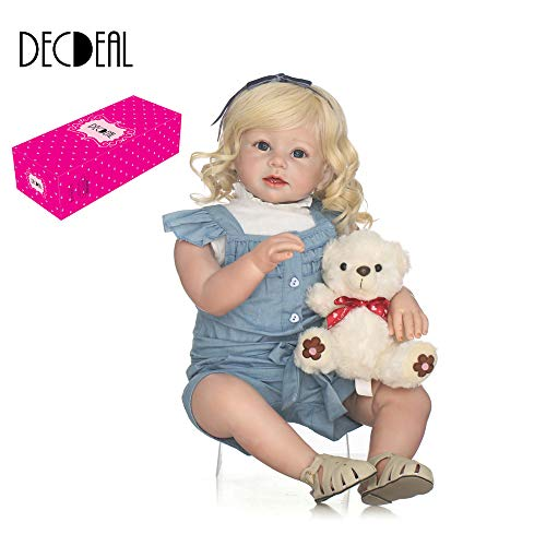 "Decdeal 28"" Reborn Baby Toddler Doll, Like Real Life Newborn Lovely Baby Girl Doll with Soft Cute Bear Toy for Kids Xmas/Birthday Gift, 3 Type from Decdeal"