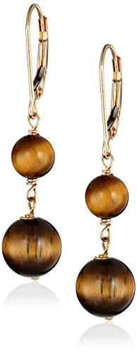 14k Yellow Gold Tiger Eye Drop Earrings (Gold Yellow Tiger 14k)