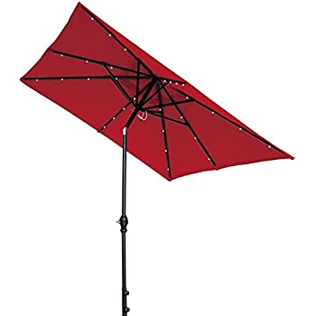 Perfect Abba Patio 7 By 9 Feet Outdoor Rectangular Umbrella With Solar Powered 32  LED Lights With
